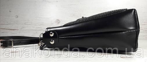 21  Натуральная кожа, Сумка-клатч черный с тиснением рогожка, фото 3