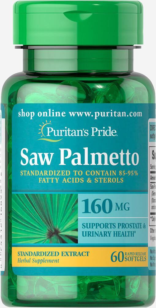 Со Пальметто экстракт стандиртизированный, Saw Palmetto 160 mg, Puritan's Pride, 60 капсул