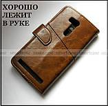 Коричневый чехол книжка K'try в эко коже для Asus Zenfone Go Zb552KL X007d + портмоне, фото 3