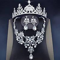 Свадебный набор ювелирная бижутерия посеребрение 47114с
