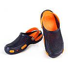 Кроксы шлепанцы сабо синие с оранжевым, размеры 36, 37, 38, 39, 40, 41, 42, 43, 44, 45, фото 3