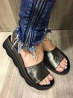 Босоножки женские кожаные никель