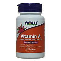 Витамин А, Now Foods, 10000 IU, 100 капсул, фото 1