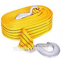 Трос буксировочный для автомобиля TP-207-3-1, 3 тонн, лента 46мм х 6м желтый, крюк, кулек, ремень стяжной, трос буксир, троса, стяжки