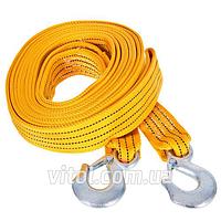 Трос буксировочный для автомобиля TP-209-5-1, 5 тонн, лента 50мм х 6м оранж, 2 крюка, сумка, ремень стяжной, трос буксир, троса, стяжки