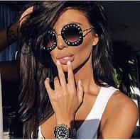 Женские очки круглой формы Gucci оправа буквы