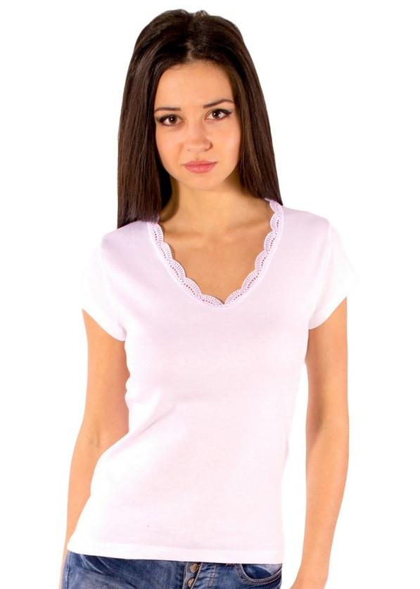 Белая футболка женская летняя с коротким рукавом без рисунка хлопок с кружевом трикотажная Украина
