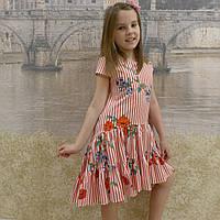 Платье (1018) полоска красная -мак (хвостик)