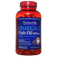 Омега-3 Рыбий жир Omega-3, Puritan's Pride, 1000 мг, 250 капсул