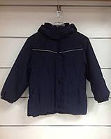 Куртка темно синяя для мальчика удлиненная с капюшоном, фото 1