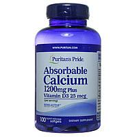 Кальций карбонат и витамин Д3, 1200 мг, 100 капсул, Puritan's Pride