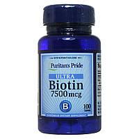 Биотин для роста волос, 7500 мкг, 100 таблеток, Puritan's Pride