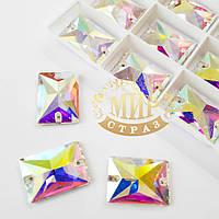 Пришивные прямоугольники стекло Lux, цвет Crystal AB, 18x25мм, 1шт