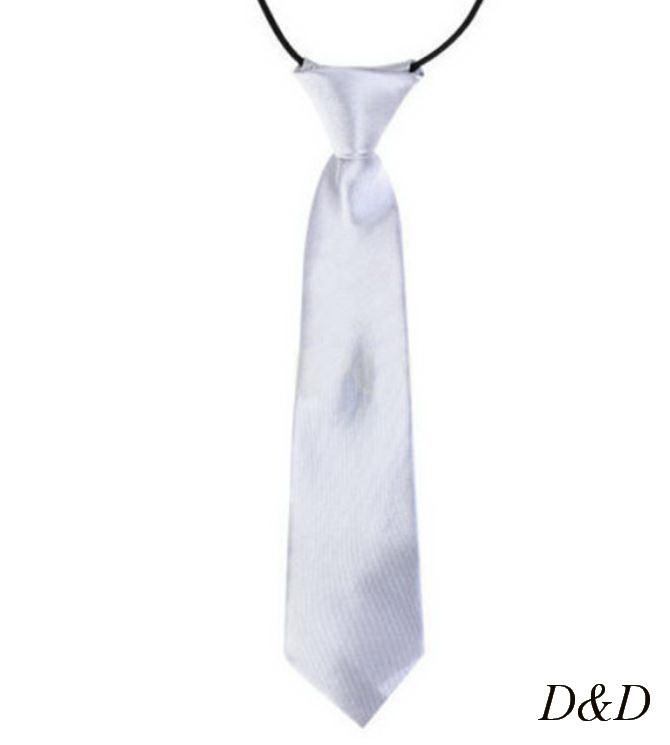 Детский галстук атласный серебристый