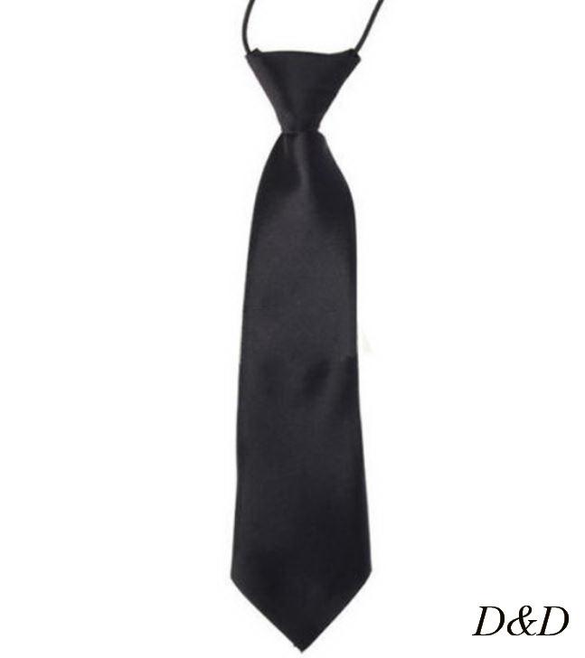 Детский галстук атласный черный