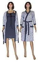 Комплект пеньюар 18006 Golden Dark Blue, ночная рубашка и халат из хлопка, р.р. 42-56 52