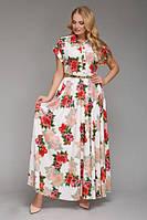 """Платье длинное большого размера VР55 """"принт"""""""