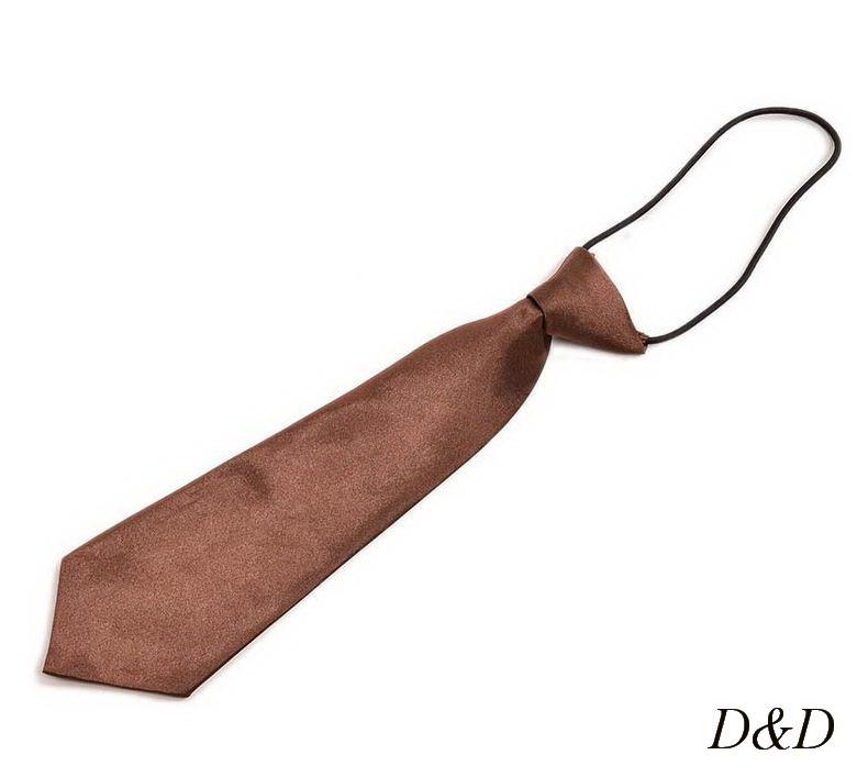 Детский галстук атласный коричневый
