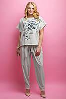 Женский летний штапельный костюм большого размера Флора / размер 52-62 / цвет бежевый