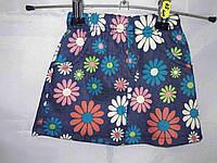 Детская юбка под джинс с перфорацией цветы трикотаж