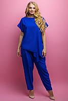Женский летний штапельный костюм свободного кроя Роуз / размер 52-62 / цвет электрик