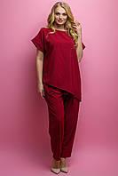 Женский летний штапельный костюм свободного кроя Роуз / размер 52-62 / цвет бордовый