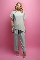 Женский летний штапельный костюм большого размера Роуз / размер 52-62 / цвет бежевый