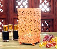 Подсвечник металлический персикового цвета