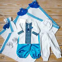 Набор для мальчика на крестины (трикотажный набор с 2 штанишками+крыжма)