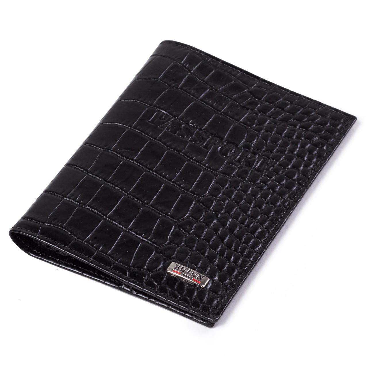 Шкіряна обкладинка на паспорт чорна Butun 147-002-001