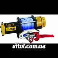Лебедка автомобильная электрическая T-MAX ATW PRO-3500 7207110 напряжение 12V, 1.587 т, размер 5.5мм*15м, синт трос, электрическая лебедка, тюнинг