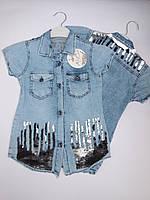 Джинсовая летняя рубашка для девочек от 8 до 14 лет.