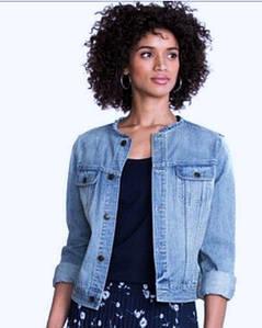 Джинсовая куртка без воротника короткая для женщин CHAPS (США) Голубой