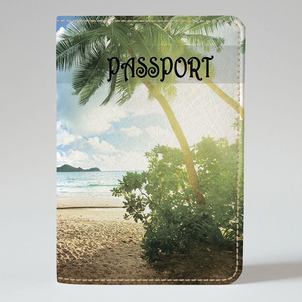 Обложка на паспорт v.1.0. Fisher Gifts 591 Пальмы на рассвете (эко-кожа)
