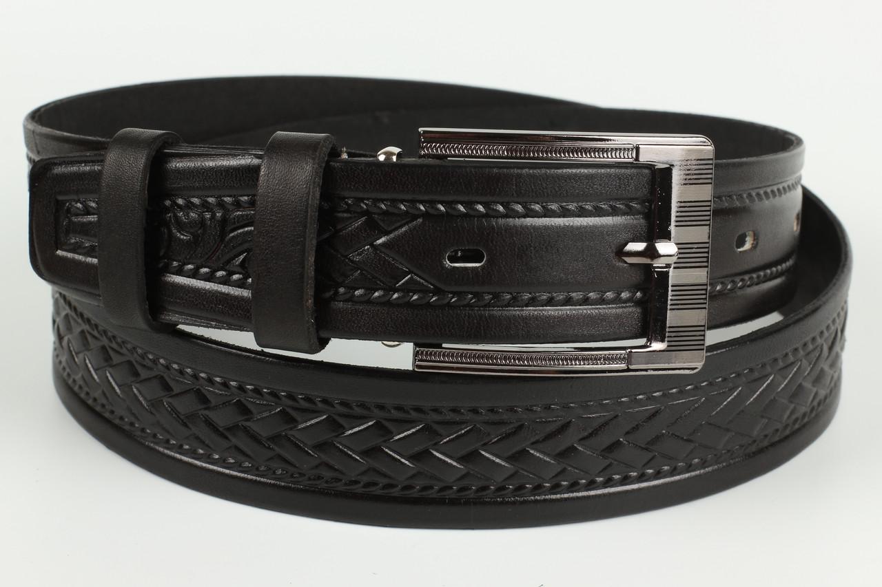 Ремень кожаный брючный 35 мм с тиснением