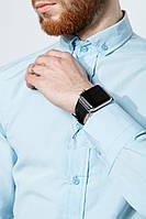 Рубашка мужская однотонная 333F007 (Голубой)
