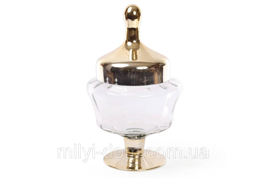 Стеклянная вазочка-кубок с крышкой, золотистое напыление, 29 см.