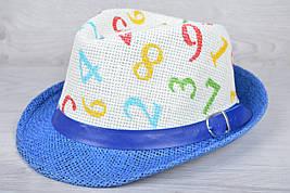 """Детская шляпа-челентанка """"Цифры"""" Размер 52-54 см. Синяя. Оптом."""
