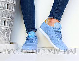 Кроссовки женские голубые Reebok Classic нат. замша реплика, фото 3