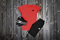 Летний спортивный костюм, комплект New Balance (красный+черный), Реплика