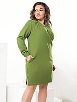Женское платье на запах цвета хаки. Модель 17827. Размеры 50-56 b92bd9d30fa