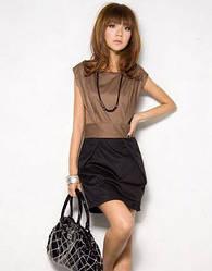 Шелковое мини платье с поясом S размер
