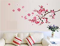 Наклейка на стену, виниловые наклейки декоративное цветущее дерево сакура 120см*50см (лист60*45см)