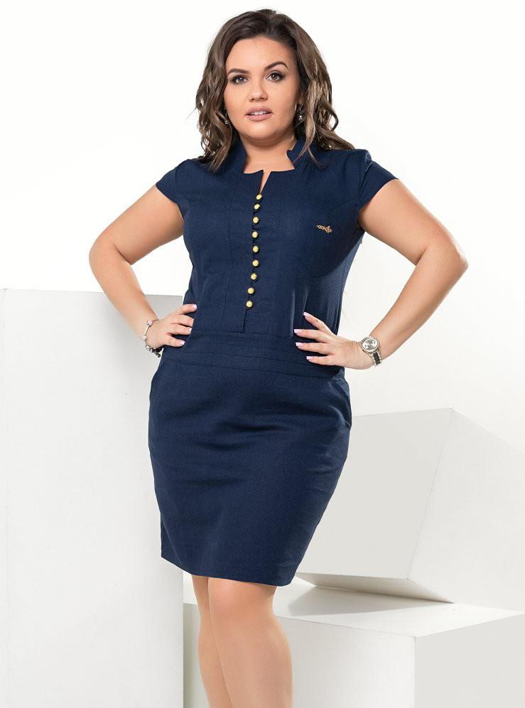 4aa0e80864f Женственное летнее платье темно-синего цвета из льна. Модель 17831. Размеры  44-56