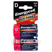 Батарейка Energycell 1,5V, R20 C2, солевая, DR20, 2шт (6932010392209), батарейка пальчиковая, аккумулятор, элемент питания,Мини пальчиковые батарейки