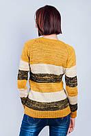 Свитер женский крупная вязка 381F001 (Горчично-черный)