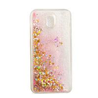 Чехол Бампер Glitter Жидкий блеск для Samsung Galaxy J3 2017 / J330f с блестками звезды розовый