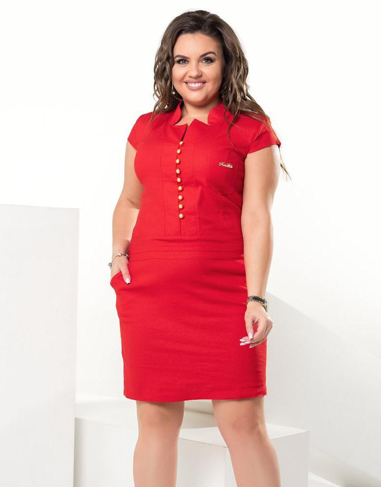 Женственное летнее платье красного цвета из льна. Модель 17835. Размеры 48-56