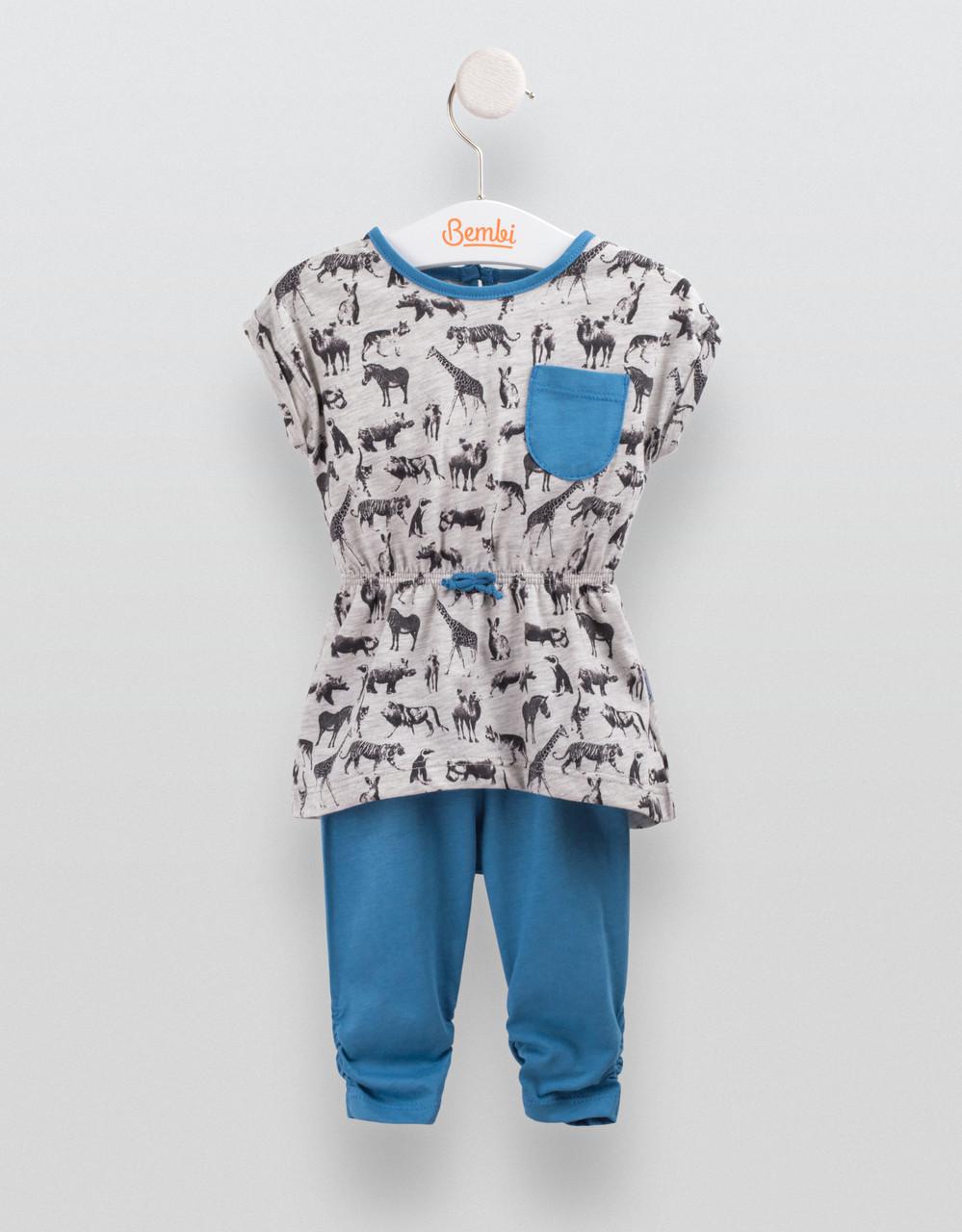 Комплект для девочки Бемби Зоо, синий, КС556 (р.86)