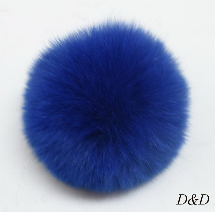 Брелок помпон натуральный мех синий диаметр 8 см